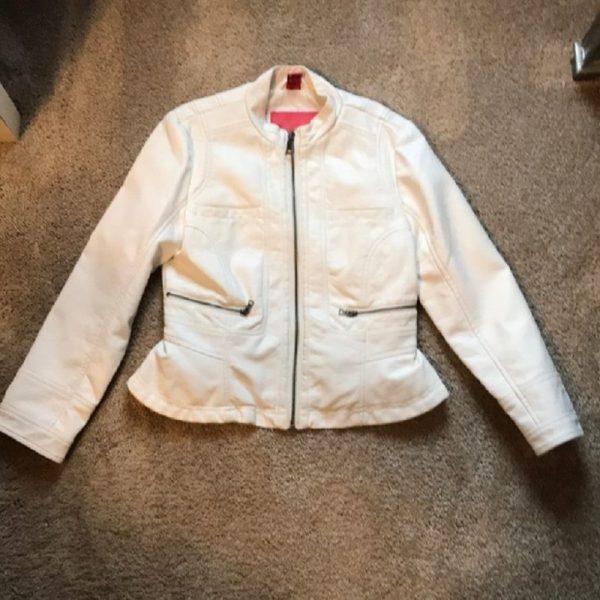 Kids Fashion White Leather Jacket
