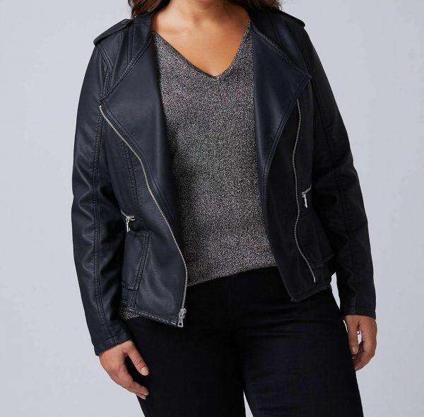 Lane Bryant Black Peplum Moto Faux Leather Jacket