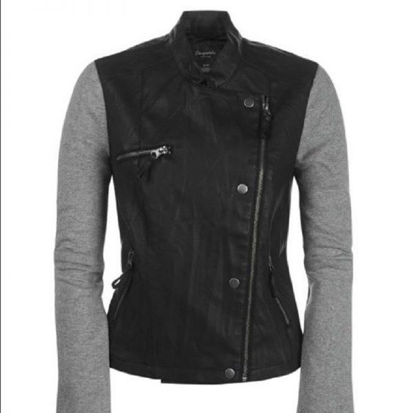 Leather Jacket With Sweatshirt Sleeves
