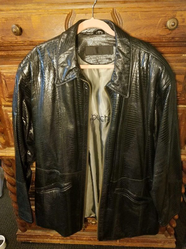 Marc Buchanan Crocodile Patern Pelle Pelle Leather Jacket