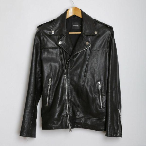 Men Imperial Black Biker Leather Jacket