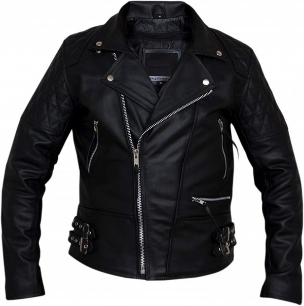 Mens Classic Diamond Biker Leather Jacket