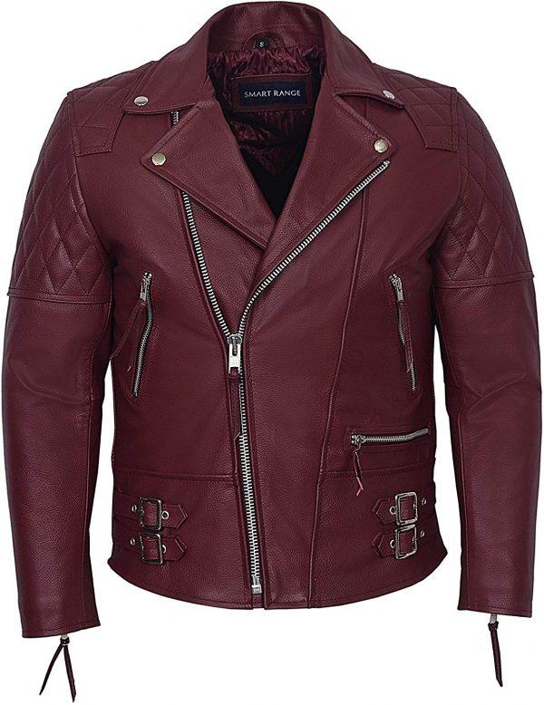 Men's Oxblood Hide Biker Style Leather Jacket