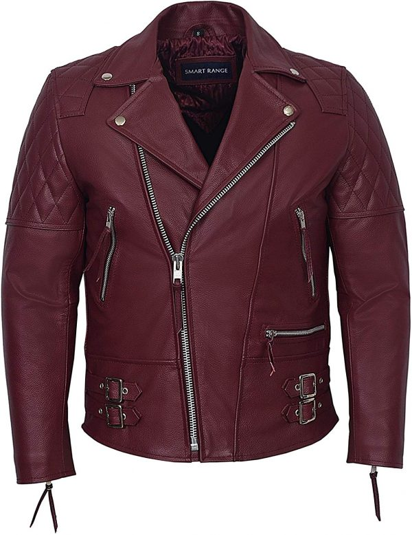 Men's Oxblood Hide Biker Style Leather Jacket