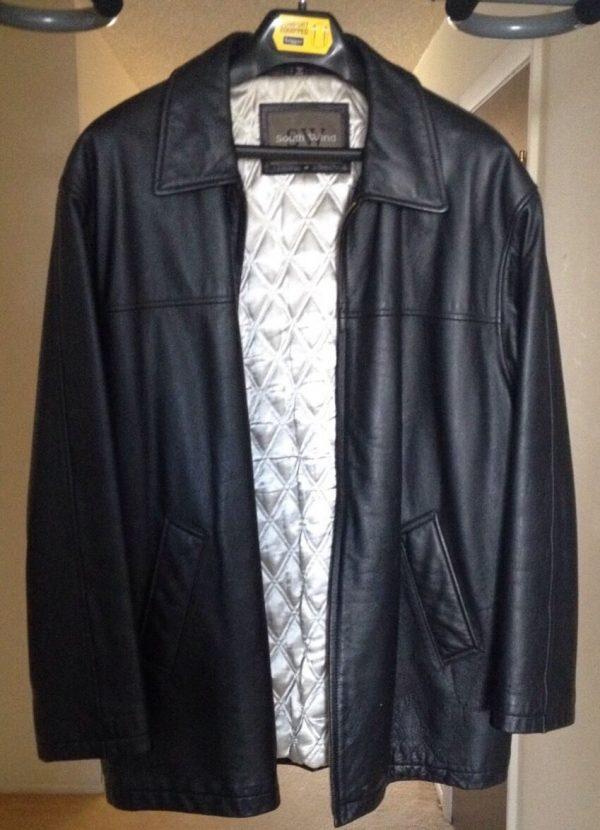 Mens South-wind Black Leather Jacket