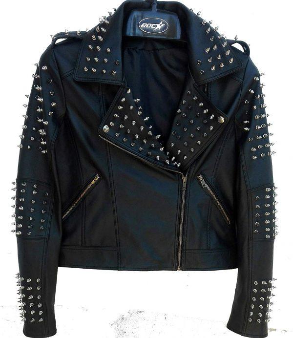 Mens Spiked Biker Leather Jacket