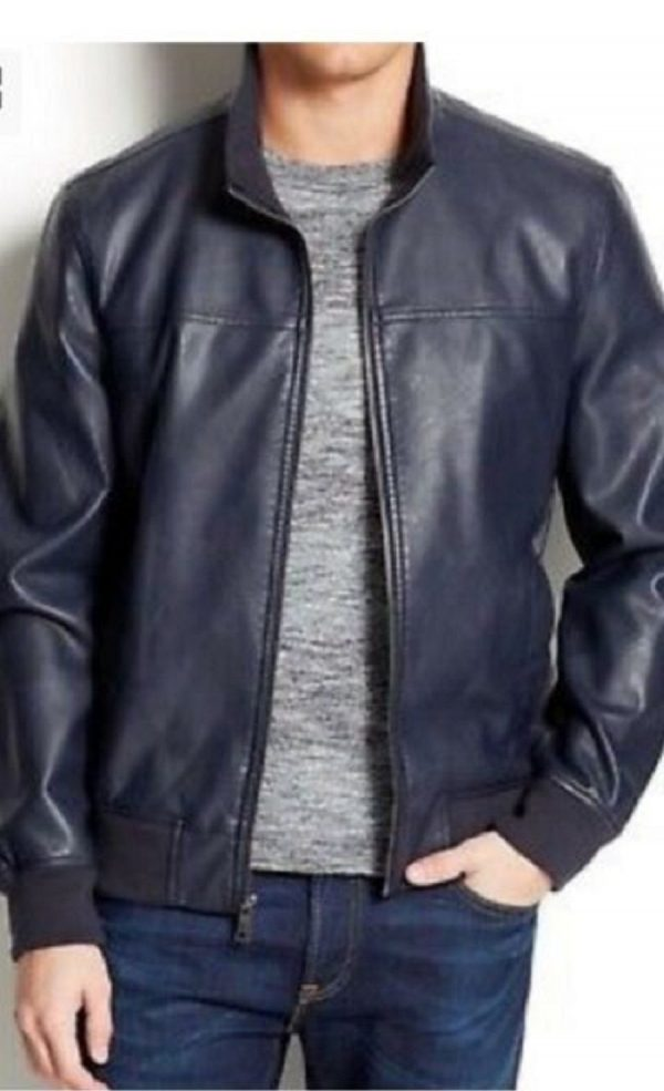 Mens Tommy Hilfiger Bomber Leather Jacket