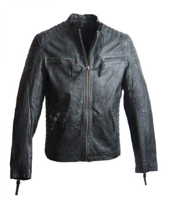 Mens Used-look Leather Jacket