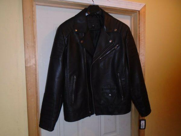 Murano Black Imitation Motorcycle Leather Jacket