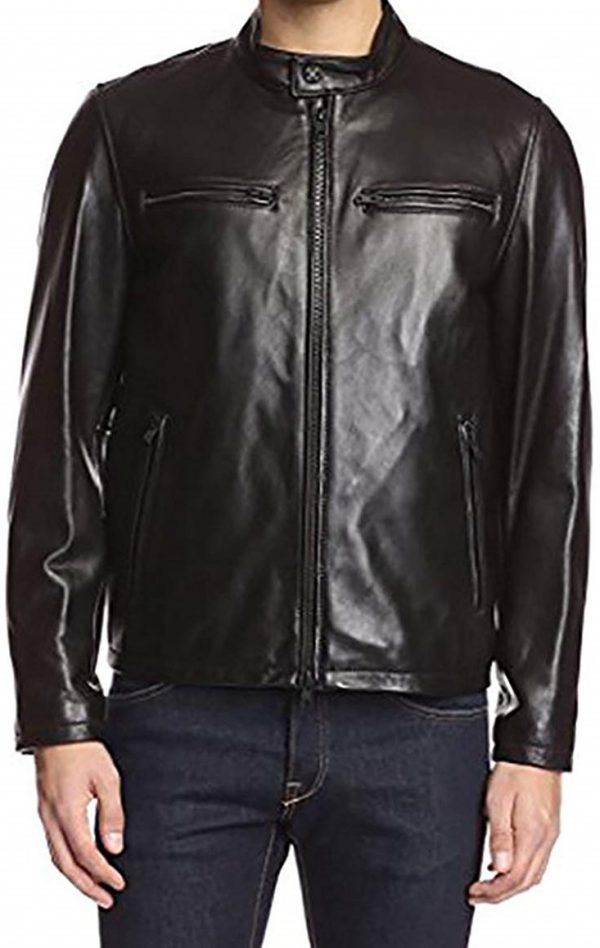 Vince Camuto Moto Smooth Lamb Leather Jacket