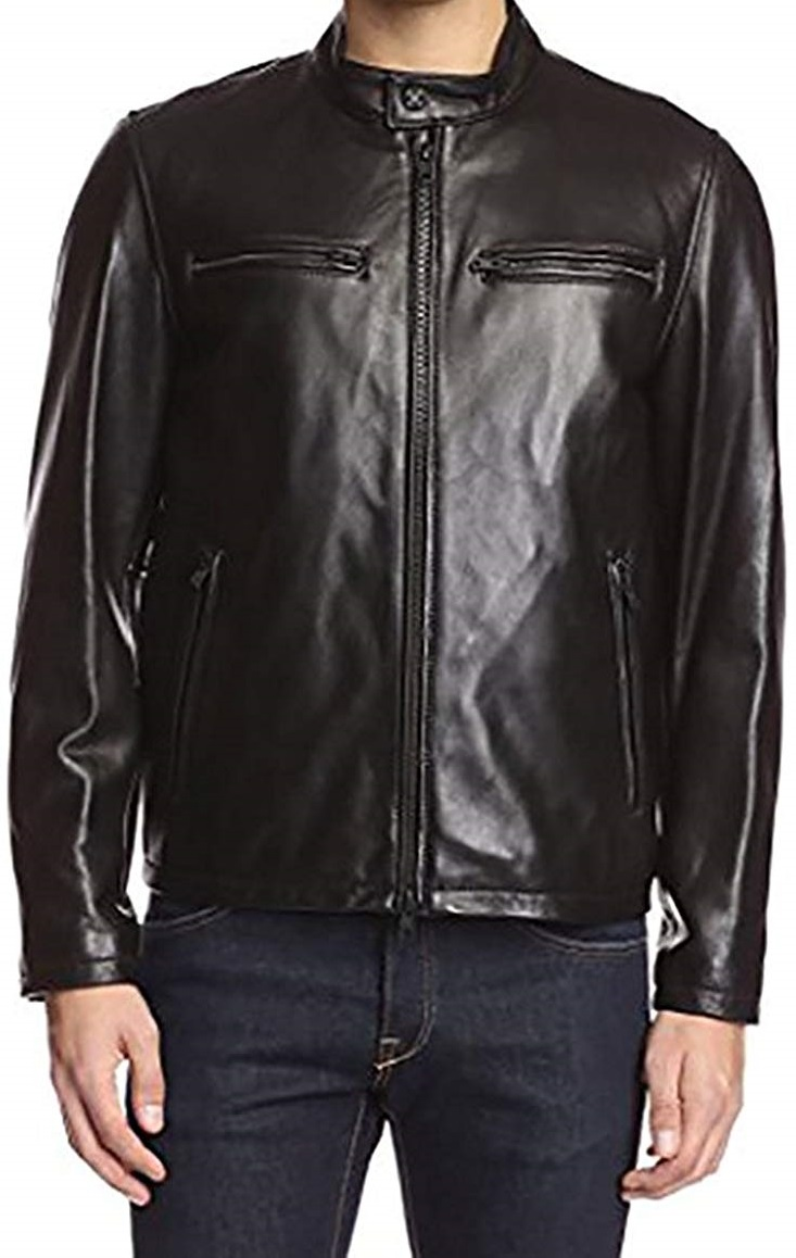 Vince Camuto Mens Smooth Faux-Leather Jacket