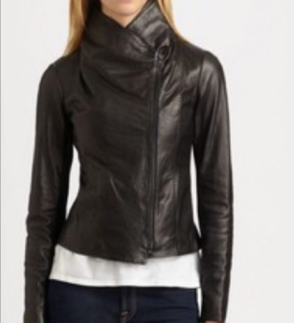 Vince Scuba Black Leather Jackets