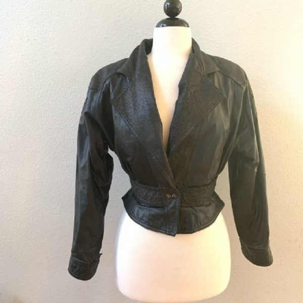 Vintage 80s Pelle Cuir Black Leather Jacket