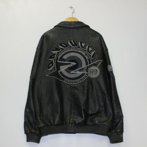 Vintage Davoucci Black Bomber Leather Jackets