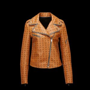Visetos Print Rider Leather Jacket