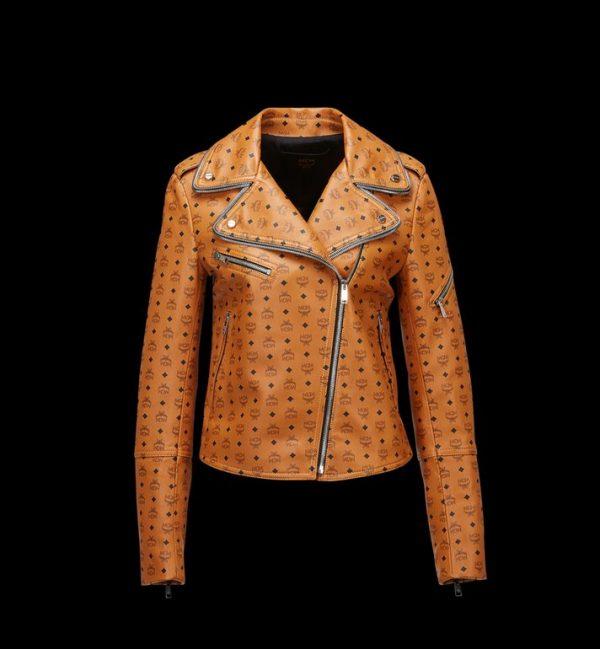 Visetos Print Rider Leather Jacket