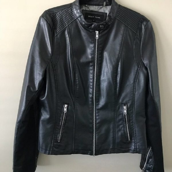 Women Black Rivet Faux-leather Jacket