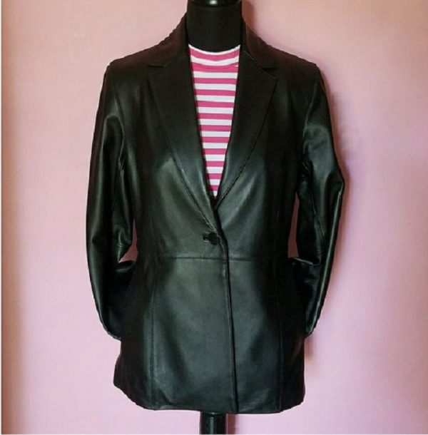 Womens Valerie Stevens Black Leather Jacket