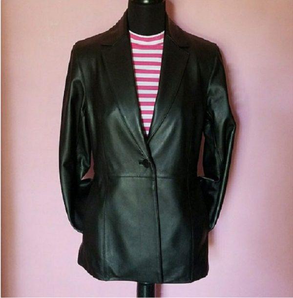 Womens Valerie Stevens Black Leather Jacket