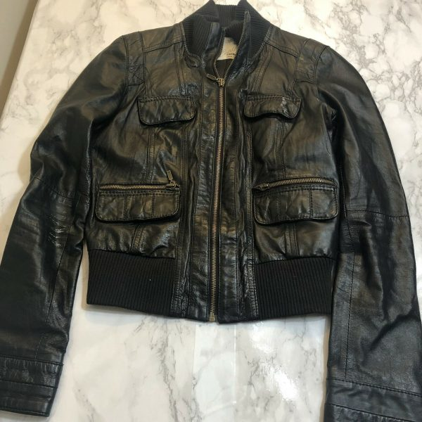 Zara TRF Trafaluc Leather Collection Biker Bomber Jacket