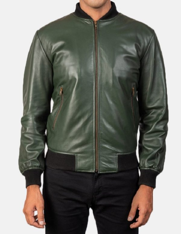 Army Greens Leather Jacket