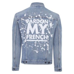 Blue Pardon My French Painted Denim Jacket