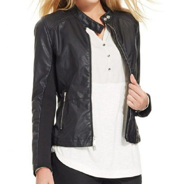 Calvin Klein Faux Leather Jacket Womens