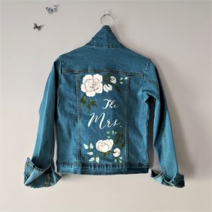 Flower Design Painted Denim Jacket
