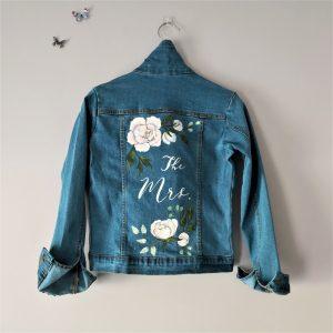 Flower Design Painted Denim Jacket