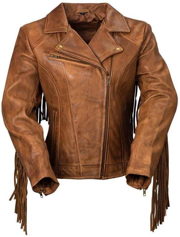 Fringed Leather Jacket Women
