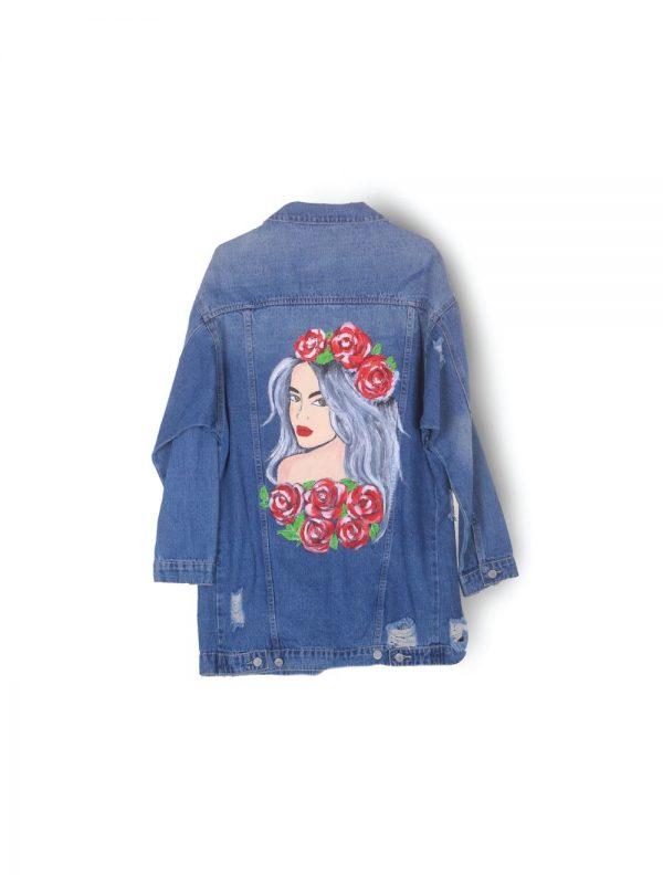 Girl Abstract Art Denim Jacket