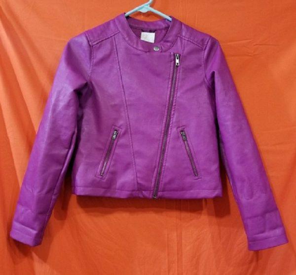 Kids Purple Leather Jacket