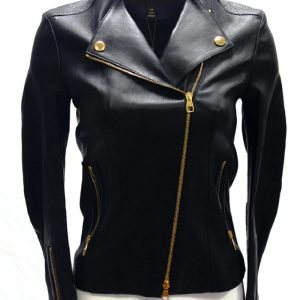 Leather Jacket Gold Zipper