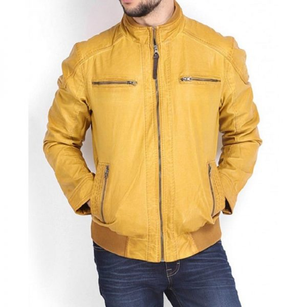 Mustard Color Leather Jacket