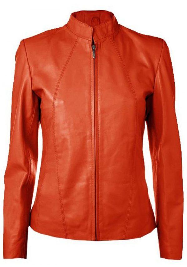 Orange Leather Jacket Womens