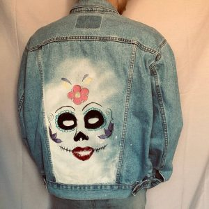 Painted Denim Jacket Flowers And Eyes