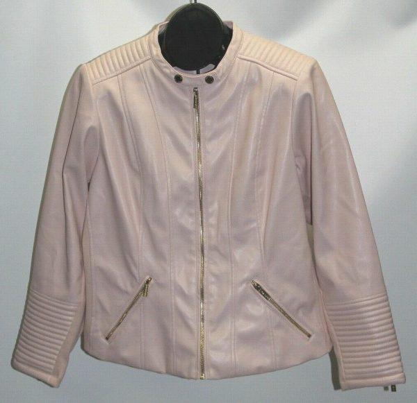 Plus Size Pink Leather Jacket