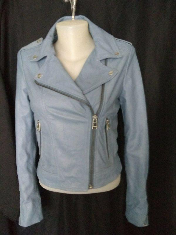 Powder Blues Leather Jacket