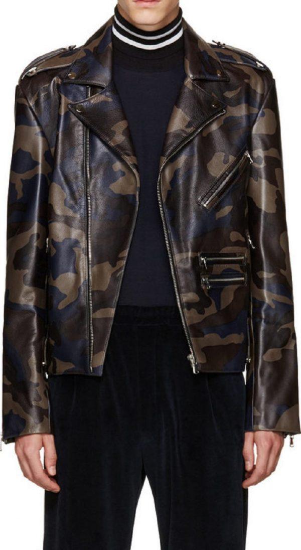 Pyer Moss Camo Leather Jacket