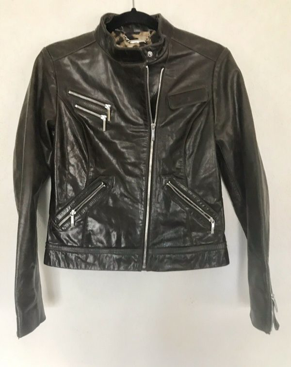 Shelli Segal Laundry Brown Distresseds Genuine Leather Jacket