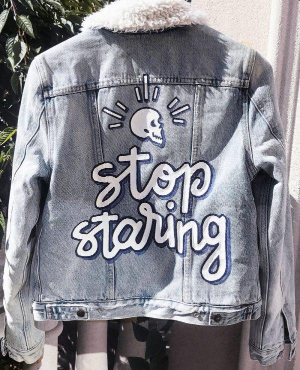 Stop Staring Hand Painted Denim Shearling Jacket