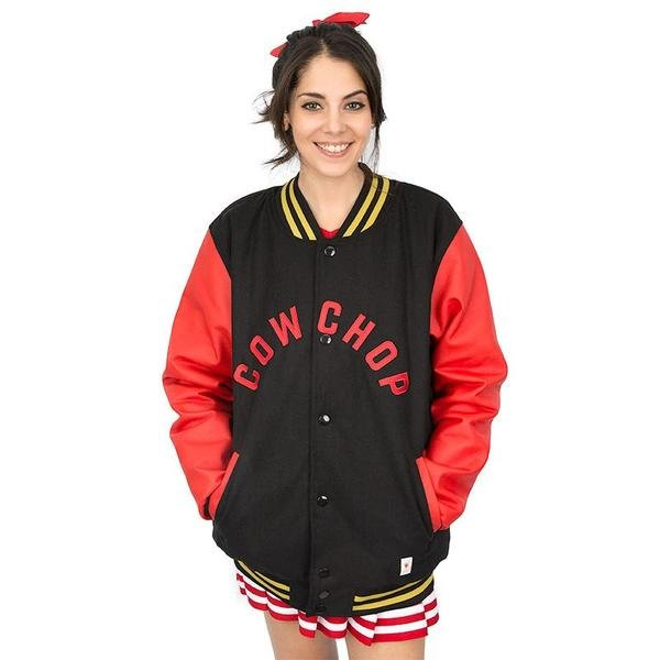 Red And Black Cow Chop Varsity Jacket