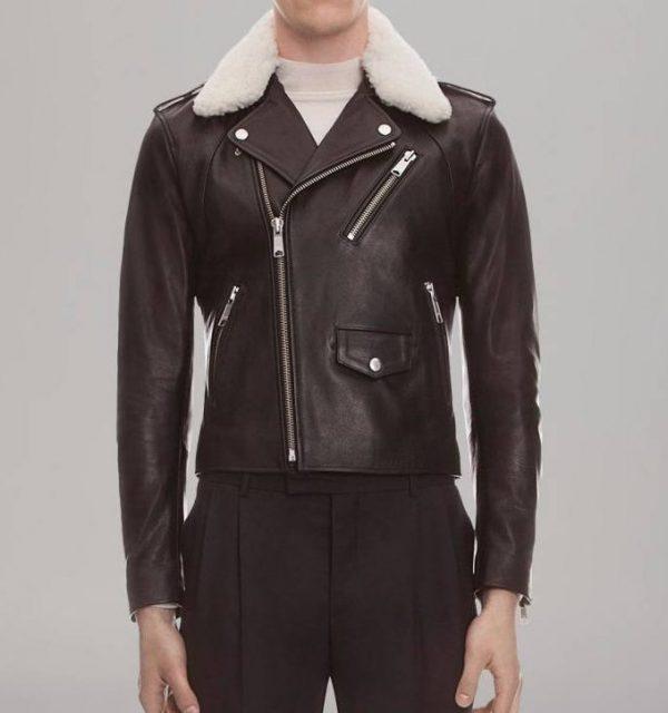 Sandro Shearing Leather Jacket