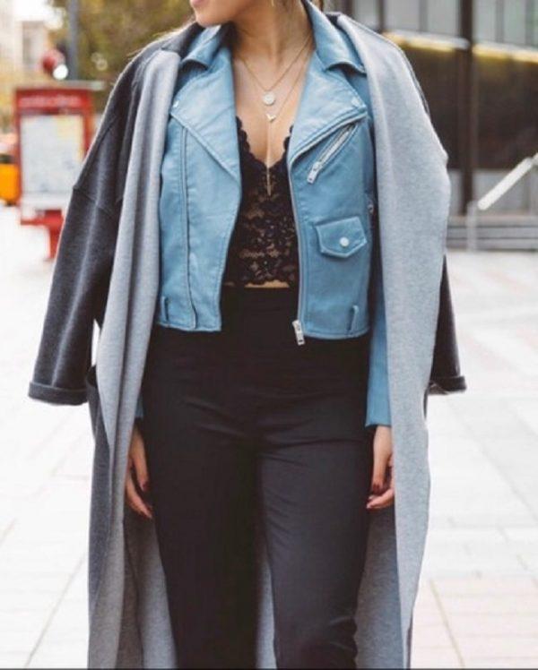 Zara Blue Leathers Jacket