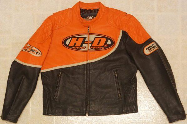 Black And Orange Harley Leather Jacket