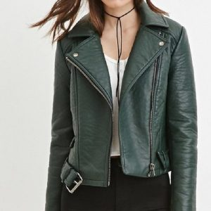Forever 21 Green Leather Jacket