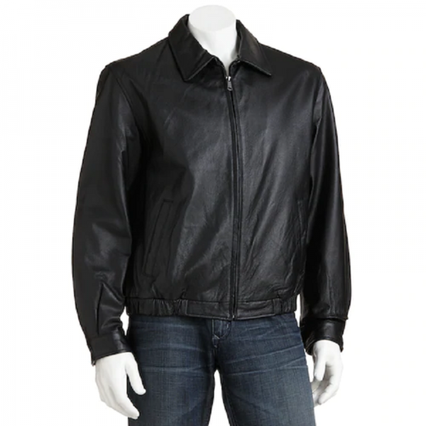 Men Croft & Barrow Leather Bomber Jacket