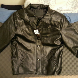 A. Collezioni Black Leather Jacket