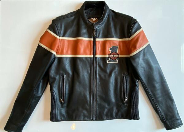 Harley Davidsons Orange And Black Leather Jacket