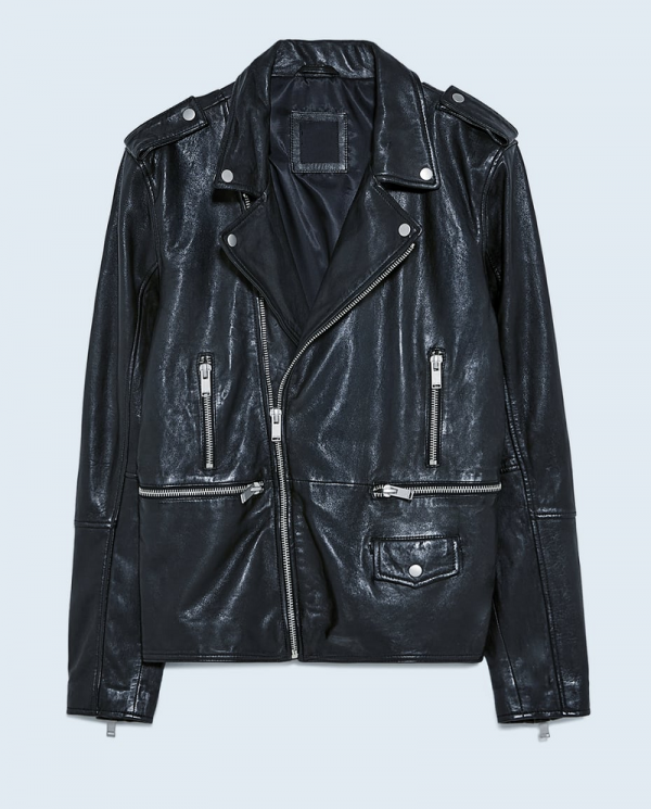 Zara Leather Jacket With Zips